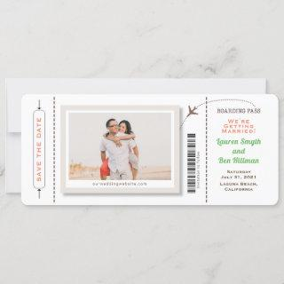Boarding Pass Photo Save the Date Rounded Corners