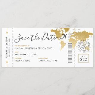 Boarding Pass Save the Date Gold World Map Invitations
