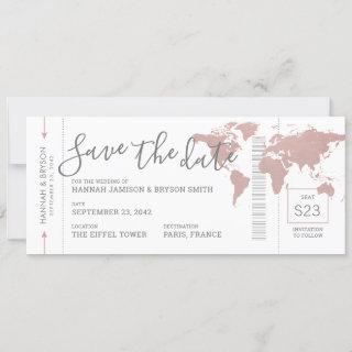 Boarding Pass Save the Date Pink Map Ticket