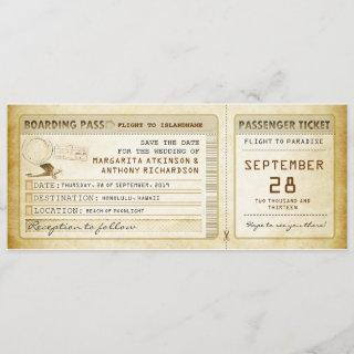 boarding pass save the date tickets with plane