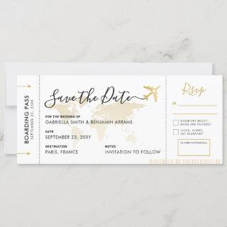 Boarding Pass Save the Date with Attached RSVP