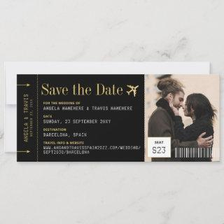 Boarding Pass Ticket Photo Wedding Save the Date