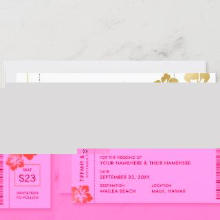 Boarding Pass Ticket Save the Date Gold Hibiscus Announcement