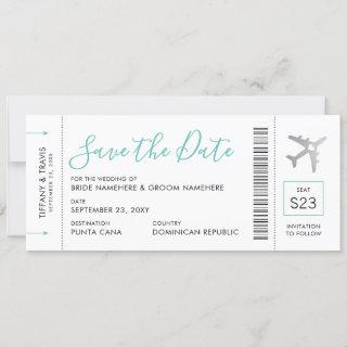 Boarding Pass Ticket Save the Date Silver Plane Announcement