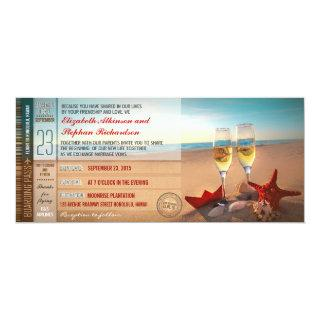 Boarding Pass Tickets Modern Beach Wedding Invitations