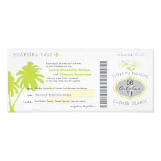 Boarding Pass to Cayman Islands Wedding Invitations