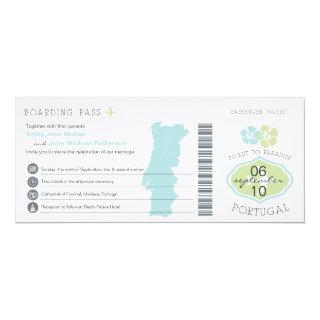 Boarding Pass to Portugal Wedding Invitations