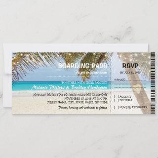 Boarding Pass Tropical Beach Flamingo Wedding Invitations