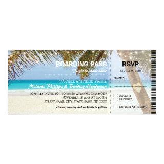 Boarding Pass Tropical Beach Flamingo Wedding Invitation