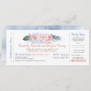 Boarding Pass | Tropical Beach | Wedding Ticket Invitation