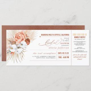 Boarding Pass Tropical Floral Bridal Shower Ticket
