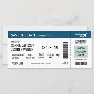 Boarding Pass Vintage Blue and White Save the Date