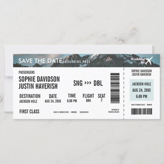 Boarding Pass Vintage Mountains Save the Date