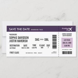Boarding Pass Vintage Purple White Save the Date