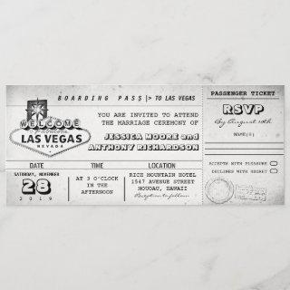 boarding pass wedding tickets LAS VEGAS Invitations