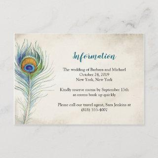 Bohemain Wedding Information Card Peacock Feather