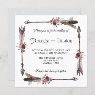 Bohemian Arrow With Floral Bouquets Wedding Invitation