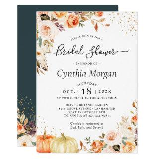 Bohemian Autumn Gold Floral Fall Bridal Shower Invitations
