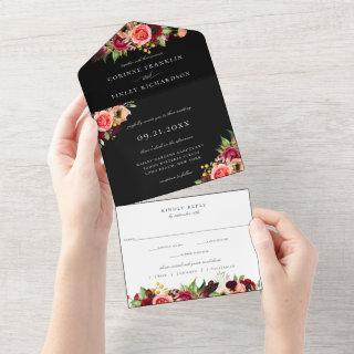 Bohemian Blooms Wedding  All In One Invitation