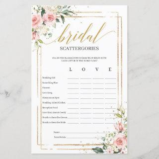 Bohemian blush floral Bridal Scattergories game