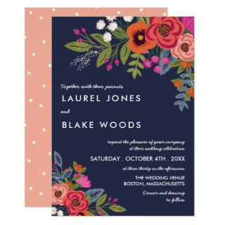 Bohemian Bouquet - Navy Blue & Coral Wedding Invitations