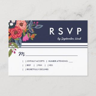 Bohemian Bouquet - Navy Blue & Coral Wedding RSVP