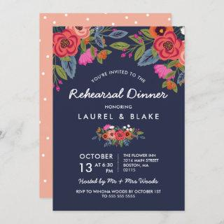 Bohemian Bouquet - Navy Blue Rehearsal Dinner Invitations