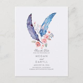 Bohemian Feathers Rustic Save the Date Announcement Postcard
