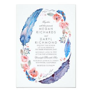 Bohemian Floral Feathers Rustic Wedding Invitations
