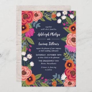 Bohemian Floral Frame - Navy Blue Wedding Invitation