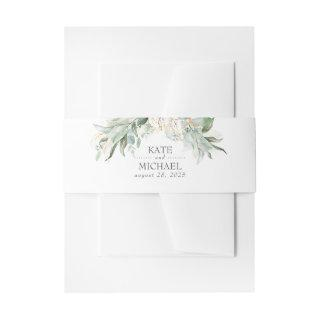 Bohemian Greenery Branches Summer Wedding Invitation Belly Band