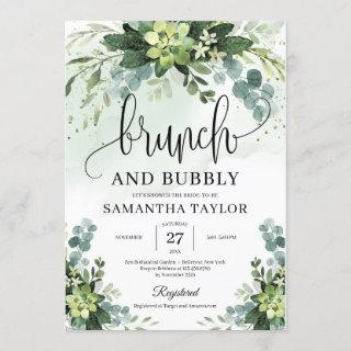 Bohemian greenery succulent brunch and bubby invitation