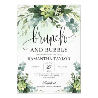 Bohemian greenery succulent brunch and bubby Invitations