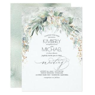 Bohemian Lush Greenery Arch Summer Garden Wedding Invitations