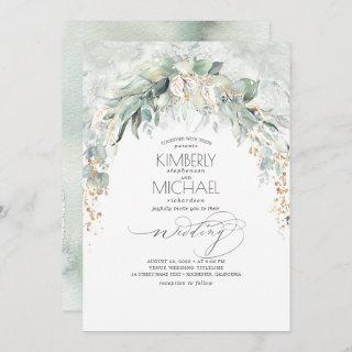Bohemian Lush Greenery Arch Summer Garden Wedding Invitation