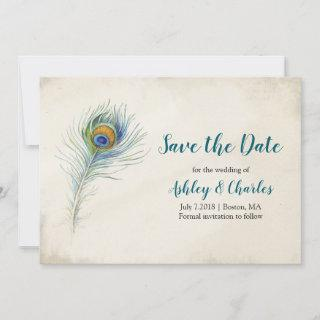 Bohemian Peacock Feather Elegant Teal Wedding Save The Date