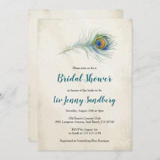 Bohemian Peacock Feather Teal Bridal Shower Invitations