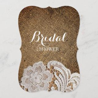 bohemian rustic western country burlap and lace Invitations