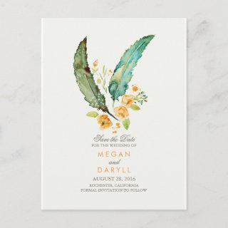 Bohemian Teal Feathers Rustic Save the Date Announcement Postcard