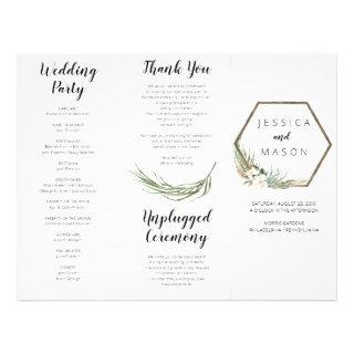 Bohemian Wreath Tri-Fold Wedding Program