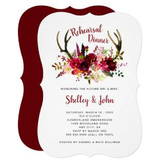 Boho Antler Burgundy Floral Rehearsal Dinner Invitation