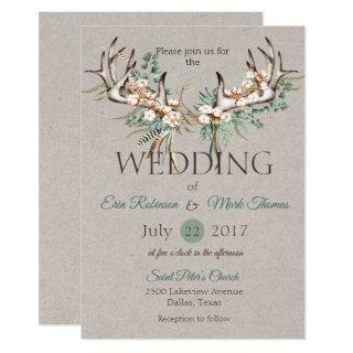 Boho Antler Cotton Wedding Invitation