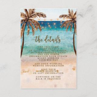boho beach scene wedding information card