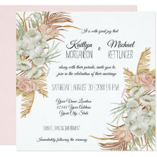 BOHO Blush Orchid Floral Pampas Grass Palm Foliage Invitation