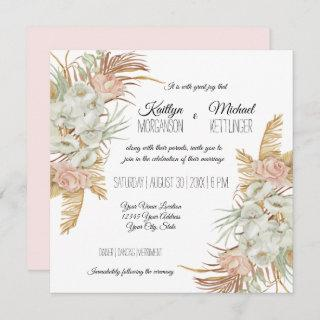 BOHO Blush Orchid Floral Pampas Grass Palm Foliage Invitations