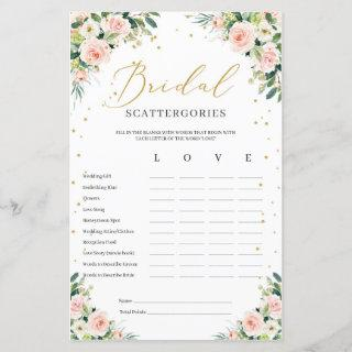 Boho blush pink floral bridal Scattergories game