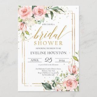 Boho blush pink floral gold frame bridal shower invitation