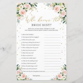 Boho blush pink floral who knows the bride best