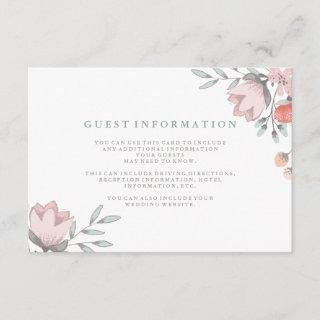 Boho Botanical Rustic Guest Details Coral and Gray Enclosure Card