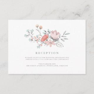 Boho Botanical Rustic Reception in Coral and Gray Enclosure Card